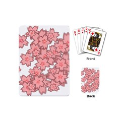 Flower Floral Pink Playing Cards (mini)  by Alisyart