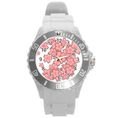 Flower Floral Pink Round Plastic Sport Watch (l) by Alisyart