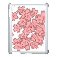 Flower Floral Pink Apple Ipad 3/4 Case (white)