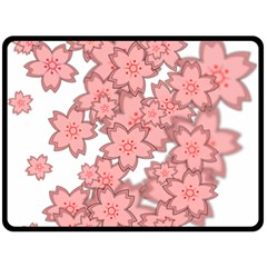 Flower Floral Pink Double Sided Fleece Blanket (large)