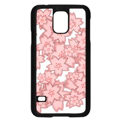 Flower Floral Pink Samsung Galaxy S5 Case (black) by Alisyart