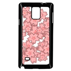 Flower Floral Pink Samsung Galaxy Note 4 Case (black) by Alisyart