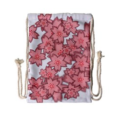 Flower Floral Pink Drawstring Bag (small) by Alisyart