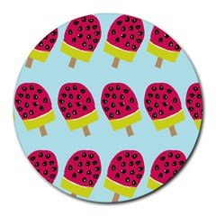 Watermelonn Red Yellow Blue Fruit Ice Round Mousepads by Alisyart