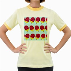 Watermelonn Red Yellow Blue Fruit Ice Women s Fitted Ringer T Shirts by Alisyart