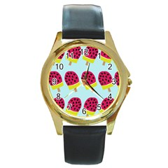 Watermelonn Red Yellow Blue Fruit Ice Round Gold Metal Watch by Alisyart