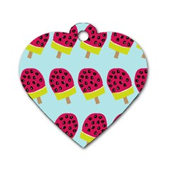 Watermelonn Red Yellow Blue Fruit Ice Dog Tag Heart (two Sides) by Alisyart