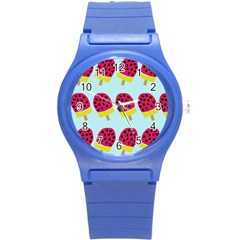 Watermelonn Red Yellow Blue Fruit Ice Round Plastic Sport Watch (s) by Alisyart