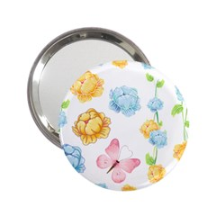 Rose Flower Floral Blue Yellow Gold Butterfly Animals Pink 2 25  Handbag Mirrors