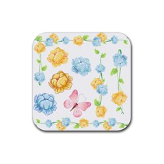 Rose Flower Floral Blue Yellow Gold Butterfly Animals Pink Rubber Square Coaster (4 Pack)