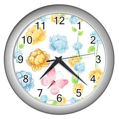 Rose Flower Floral Blue Yellow Gold Butterfly Animals Pink Wall Clocks (silver)