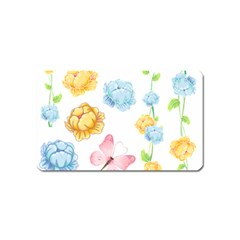 Rose Flower Floral Blue Yellow Gold Butterfly Animals Pink Magnet (name Card) by Alisyart