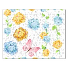 Rose Flower Floral Blue Yellow Gold Butterfly Animals Pink Rectangular Jigsaw Puzzl by Alisyart