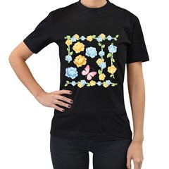 Rose Flower Floral Blue Yellow Gold Butterfly Animals Pink Women s T Shirt (black) (two Sided) by Alisyart