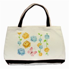 Rose Flower Floral Blue Yellow Gold Butterfly Animals Pink Basic Tote Bag by Alisyart