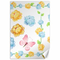 Rose Flower Floral Blue Yellow Gold Butterfly Animals Pink Canvas 12  X 18