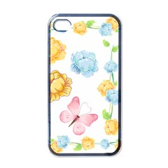 Rose Flower Floral Blue Yellow Gold Butterfly Animals Pink Apple Iphone 4 Case (black)