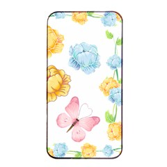 Rose Flower Floral Blue Yellow Gold Butterfly Animals Pink Apple Iphone 4/4s Seamless Case (black) by Alisyart