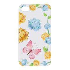 Rose Flower Floral Blue Yellow Gold Butterfly Animals Pink Apple Iphone 4/4s Hardshell Case