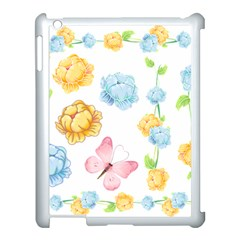 Rose Flower Floral Blue Yellow Gold Butterfly Animals Pink Apple Ipad 3/4 Case (white)