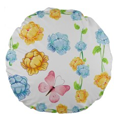 Rose Flower Floral Blue Yellow Gold Butterfly Animals Pink Large 18  Premium Round Cushions by Alisyart