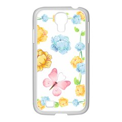 Rose Flower Floral Blue Yellow Gold Butterfly Animals Pink Samsung Galaxy S4 I9500/ I9505 Case (white) by Alisyart