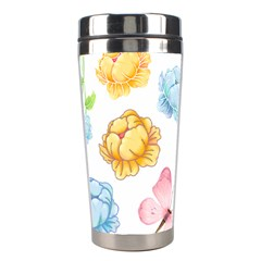 Rose Flower Floral Blue Yellow Gold Butterfly Animals Pink Stainless Steel Travel Tumblers