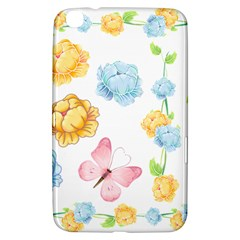 Rose Flower Floral Blue Yellow Gold Butterfly Animals Pink Samsung Galaxy Tab 3 (8 ) T3100 Hardshell Case