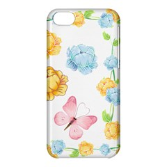 Rose Flower Floral Blue Yellow Gold Butterfly Animals Pink Apple Iphone 5c Hardshell Case by Alisyart