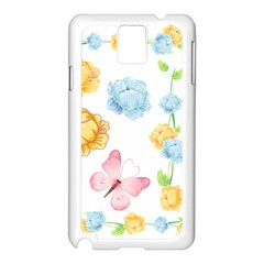 Rose Flower Floral Blue Yellow Gold Butterfly Animals Pink Samsung Galaxy Note 3 N9005 Case (white) by Alisyart