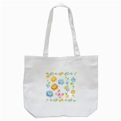 Rose Flower Floral Blue Yellow Gold Butterfly Animals Pink Tote Bag (white)