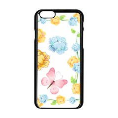 Rose Flower Floral Blue Yellow Gold Butterfly Animals Pink Apple Iphone 6/6s Black Enamel Case by Alisyart