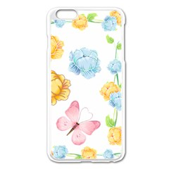 Rose Flower Floral Blue Yellow Gold Butterfly Animals Pink Apple Iphone 6 Plus/6s Plus Enamel White Case by Alisyart