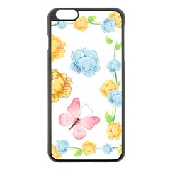 Rose Flower Floral Blue Yellow Gold Butterfly Animals Pink Apple Iphone 6 Plus/6s Plus Black Enamel Case by Alisyart
