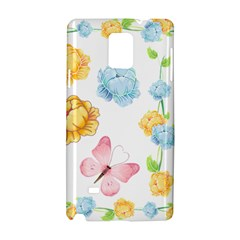 Rose Flower Floral Blue Yellow Gold Butterfly Animals Pink Samsung Galaxy Note 4 Hardshell Case by Alisyart