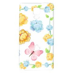 Rose Flower Floral Blue Yellow Gold Butterfly Animals Pink Galaxy Note 4 Back Case by Alisyart