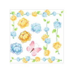 Rose Flower Floral Blue Yellow Gold Butterfly Animals Pink Small Satin Scarf (square)