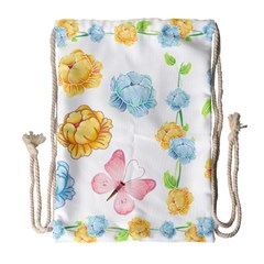 Rose Flower Floral Blue Yellow Gold Butterfly Animals Pink Drawstring Bag (large) by Alisyart