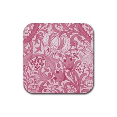 Vintage Style Floral Flower Pink Rubber Square Coaster (4 Pack)  by Alisyart