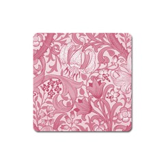 Vintage Style Floral Flower Pink Square Magnet by Alisyart