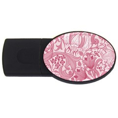 Vintage Style Floral Flower Pink Usb Flash Drive Oval (4 Gb) by Alisyart