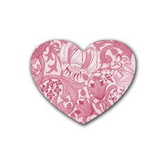 Vintage Style Floral Flower Pink Rubber Coaster (heart)  by Alisyart
