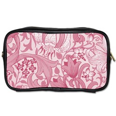 Vintage Style Floral Flower Pink Toiletries Bags 2 Side