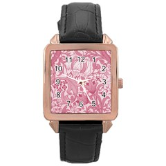 Vintage Style Floral Flower Pink Rose Gold Leather Watch  by Alisyart