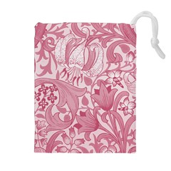 Vintage Style Floral Flower Pink Drawstring Pouches (extra Large) by Alisyart