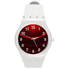 Red Spiral Featured Round Plastic Sport Watch (m) by Alisyart