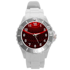 Red Spiral Featured Round Plastic Sport Watch (l) by Alisyart