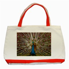 Indian Peacock Plumage Classic Tote Bag (red) by Simbadda