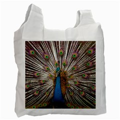 Indian Peacock Plumage Recycle Bag (one Side) by Simbadda