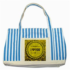 Happy Mother Day Striped Blue Tote Bag by Simbadda